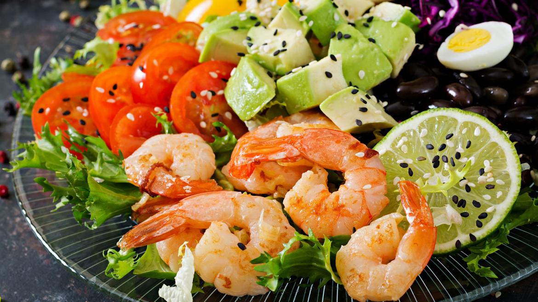 Salat Teller mit Shrimps